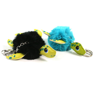 Turtle Pom Pom Keyrings in Black and Blue.