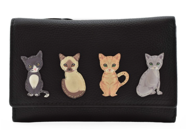 Mala - Best Friends Sitting Cats Black Matinee Purse with RFID