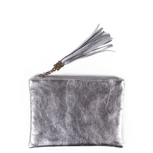 Amilu Leather Silver Tassel Clutch