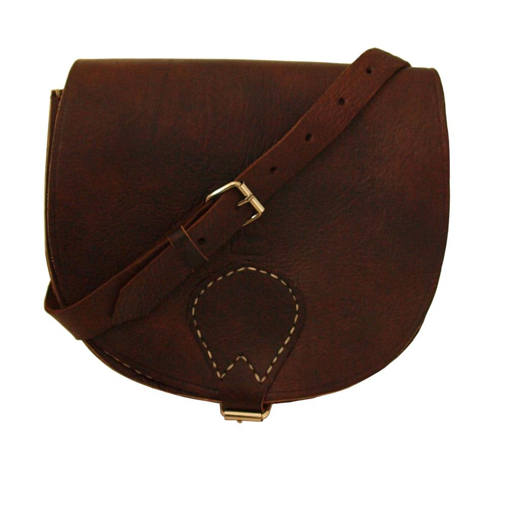 Berber Leather Half Moon Dark Brown Saddle Bag - Pursenalities_uk