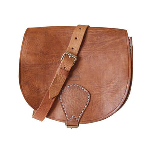 Berber Leather Half Moon Tan Saddle Bag