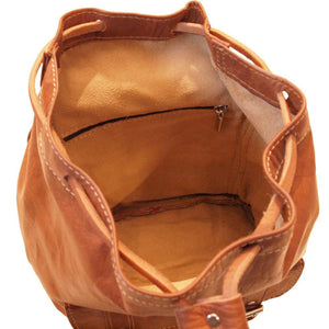 Berber Leather Small Tan Rucksack - Pursenalities_uk