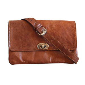 Berber Leather Tan Soft Leather Shoulder bag with Clasp - Pursenalities_uk