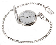 Load image into Gallery viewer, Silver Brushed Quartz full Hunter Pocket Watch