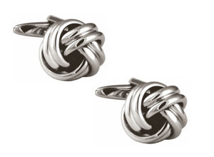 Rhodium plated Rounded Knot Cufflinks
