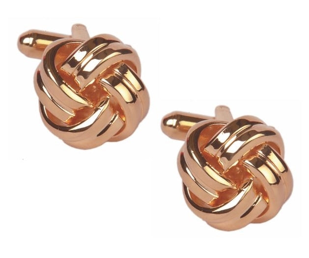 Rose gold plated Rounded Knot Cufflinks