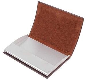 Curved Brown Leatherette Business Card Holder