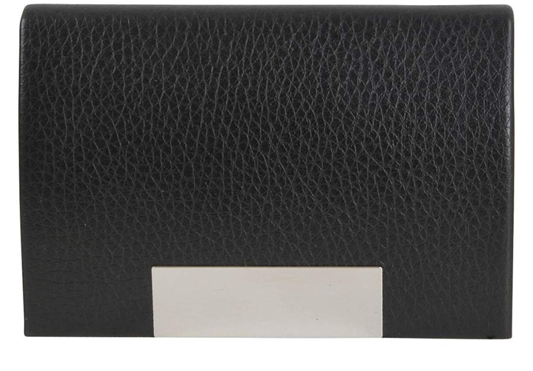 Curved Black Leatherette Business Card Holder