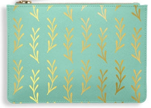 "Katie Loxton Green Perfect Pouch ""Leaf Print"""