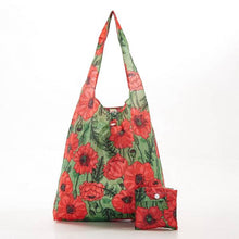 Load image into Gallery viewer, Eco Chic Foldable Shopper Poppies