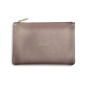 "Katie Loxton metallic Rose gold Perfect Pouch ""Be Brilliant"" - Pursenalities_uk"