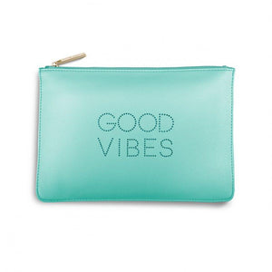 "Katie Loxton Green polka dot Perfect Pouch ""Good Vibes"" - Pursenalities_uk"