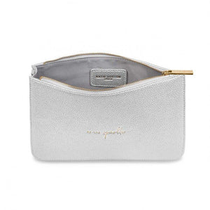 "Katie Loxton Structured Silver Pouch ""Be the Sparkle"" - Pursenalities_uk"
