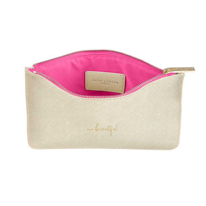 "Katie Loxton Colour Pop Gold Perfect Pouch ""Hey Beautiful"" - Pursenalities_uk"