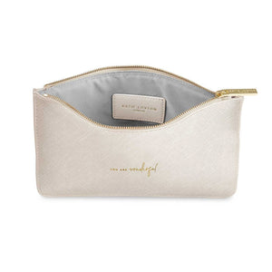 "Katie Loxton Colour Pop Metallic White Perfect Pouch ""You are Wonderful"" - Pursenalities_uk"