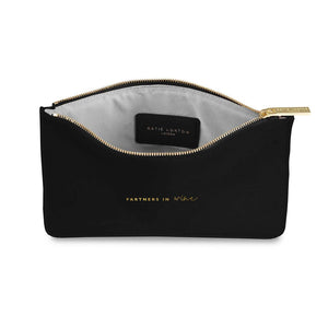"Katie Loxton Black Perfect Pouch ""Partners in Wine"" - Pursenalities_uk"