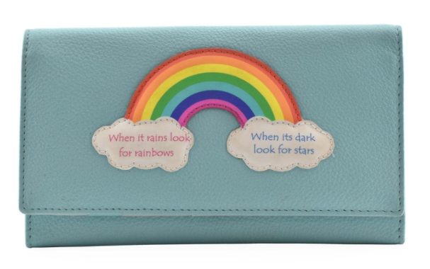 Mala - Turquoise Rainbow Flap over Purse with RFID