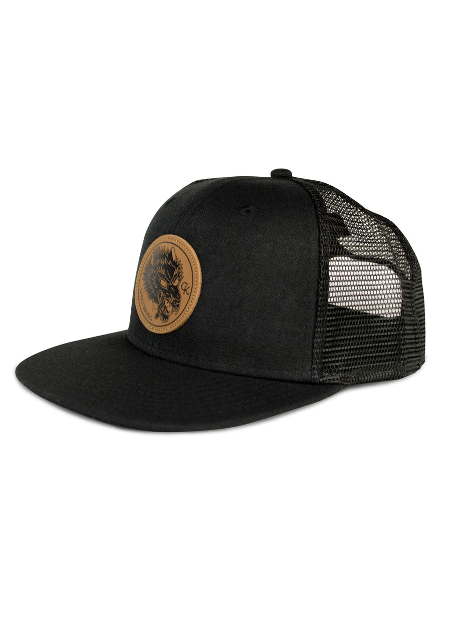 CK Leather Wolfsburg Patch Trucker Hat - Black Mesh