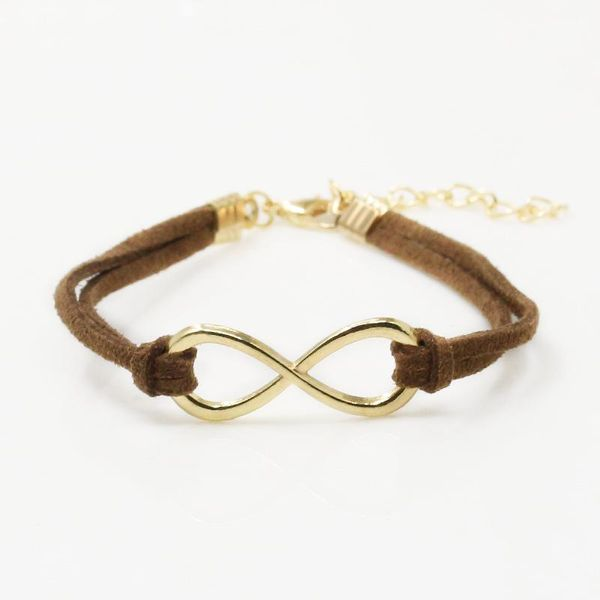 Coffee Brown and Gold Infinity Bracelet