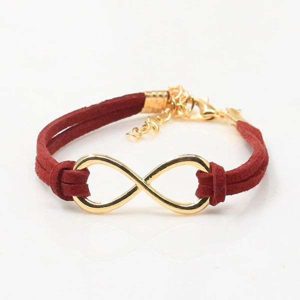 Burgundy Red and Gold Infinity Bracelet