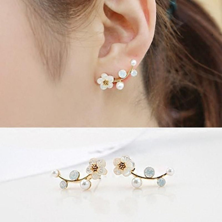 Gold Shell White  Flowers Post Earrings