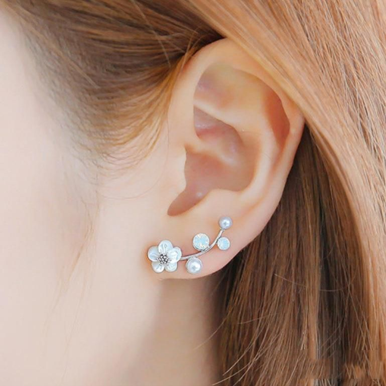 Silver Shell White Flowers Post Earrings