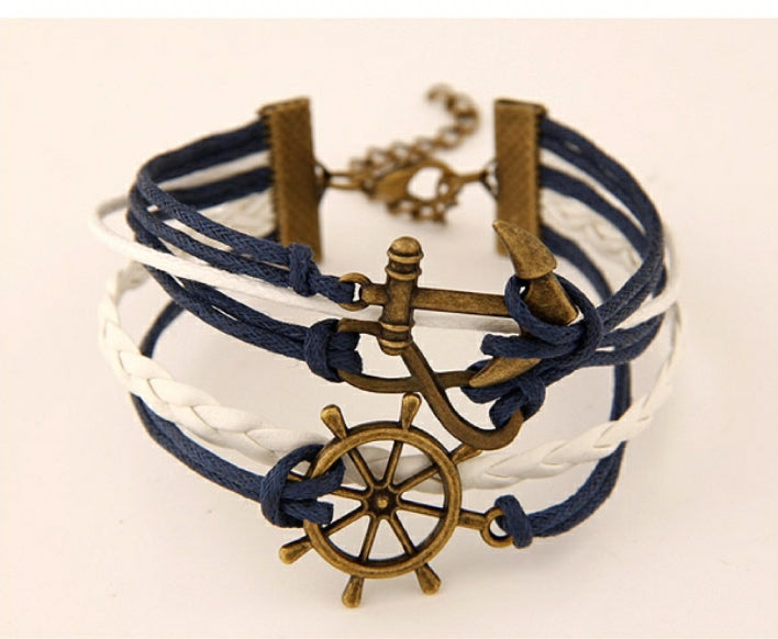 NAVY BLUE AND WHITE NAUTICAL SHIP'S WHEEL, ANCHOR, INFINITY BRACELET
