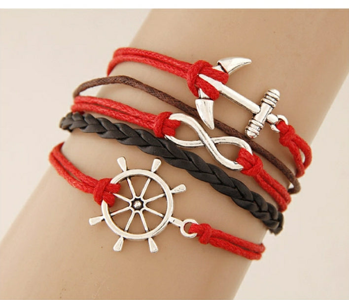 Red and Black Nautical Ship's Wheel, Anchor, and Infinity Bracelet