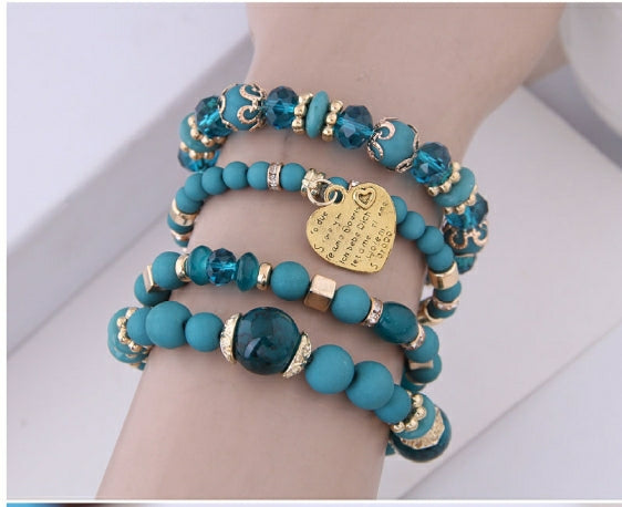 Turquoise Blue Beads Stretchy BRACELETS Sets STACK with GOLD Heart