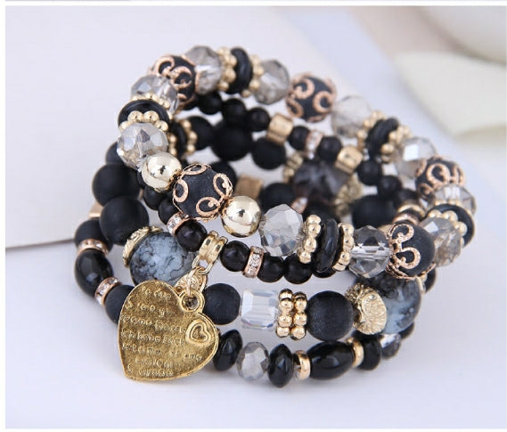 BLACK BOHEMIAN BRACELET SET WITH ENGRAVED HEART