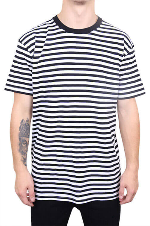 As Colour Staple Stripe Tee Black / White Front
