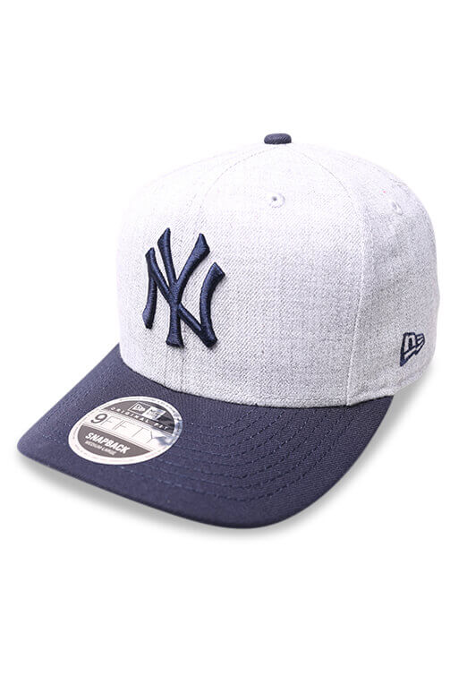 New Era 950 Pre Curved NY Grey Snapback Angle