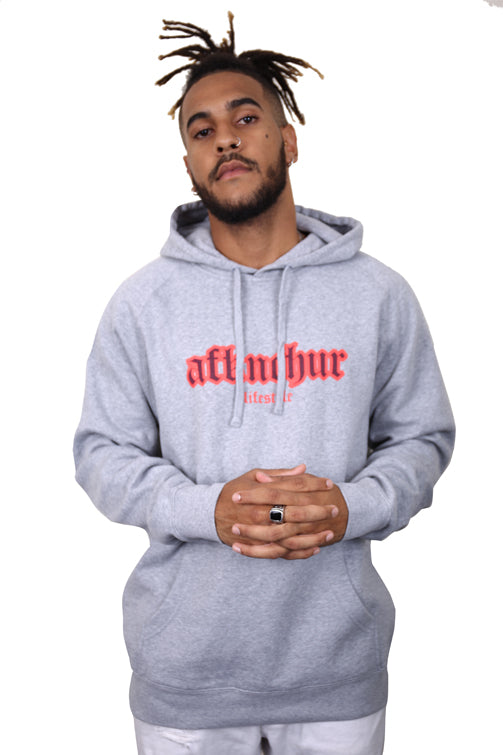 AFKNCHUR Hollow Hoody Grey Red