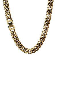 Staple 12mm Stainless Steel Cuban Chain 18k Gold