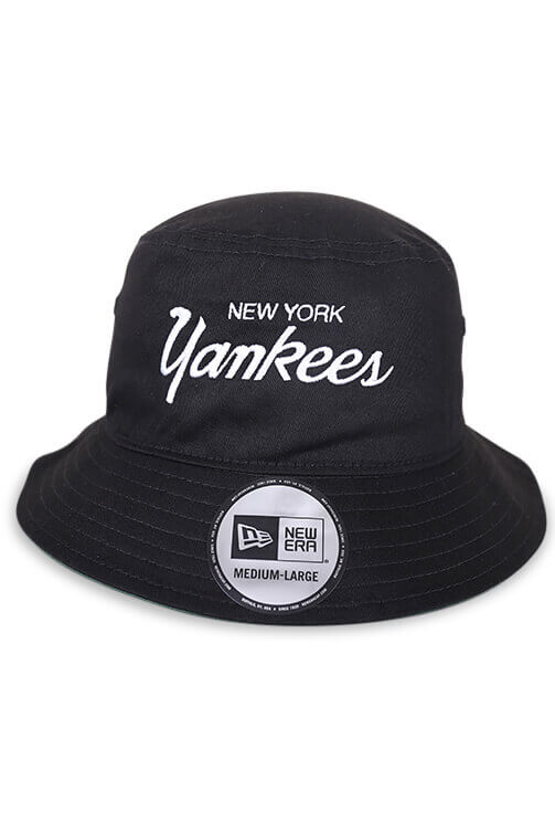 New Era NY Yankees Retro Black Bucket Front