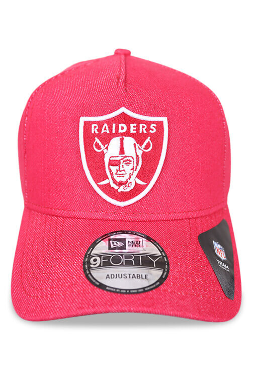 New Era 940 A Frame Raiders Denim Red Snapback Front