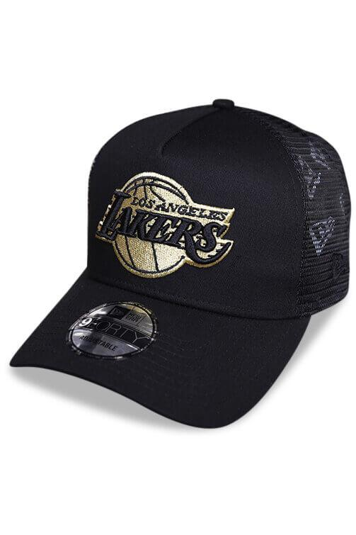 New Era 940 A Frame Lakers Gold Trucker Snapback Angle