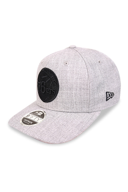 New Era 950 PC 76ers Heather Grey Snapback Angle