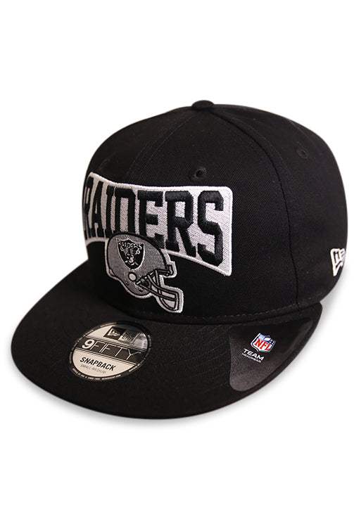 New Era 950 Raiders Helmet Story Pack Black Snapback Angle