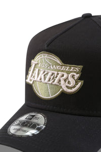 New Era 940 A Frame Lakers Black/Olive Satin Snapback Detail