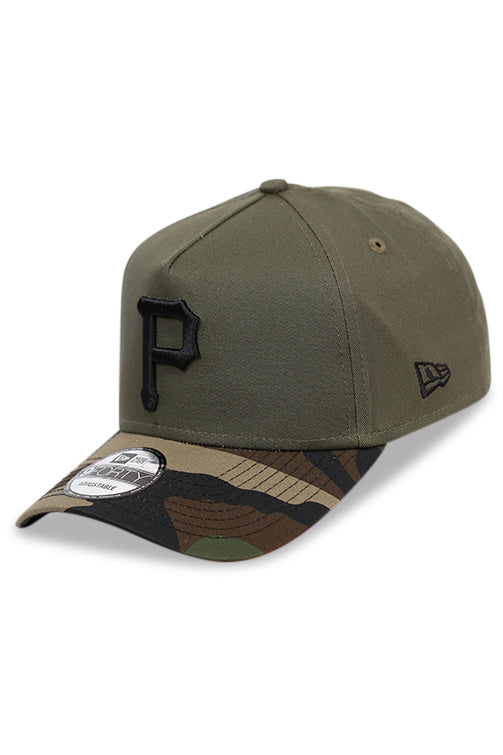 New Era 940 A Frame Pirates Olive/Woodland Camo Snapback