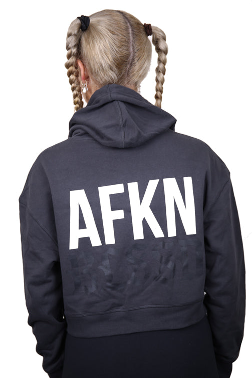 AFKNCHUR Womens Blessed Cropped Hoody Coal