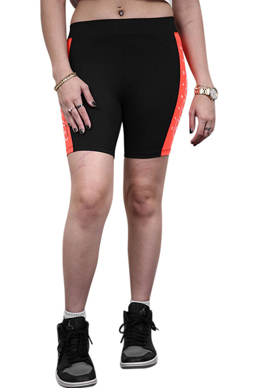 Ilabb Womens Flash Bike Shorts Black/Orange Front