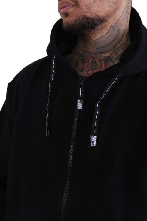 Pro Club Zip Up Hoody Black Detail 1