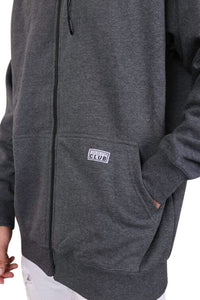 Pro Club Zip Up Hoody Charcoal Detail 2