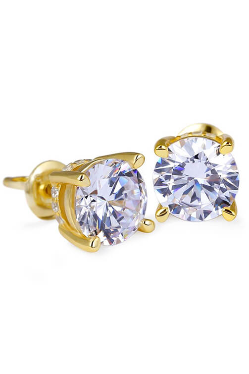 Staple 14K Gold 925 Sterling Silver Round CZ Stud Earrings Front