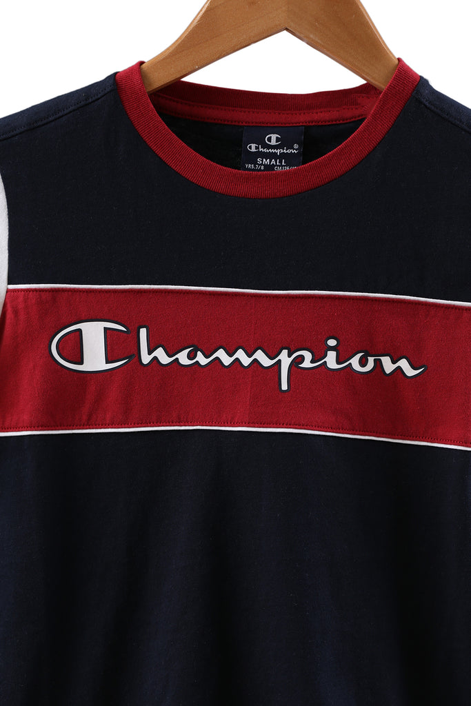 Champion EU Boys Colourblock Tee Navy/White
