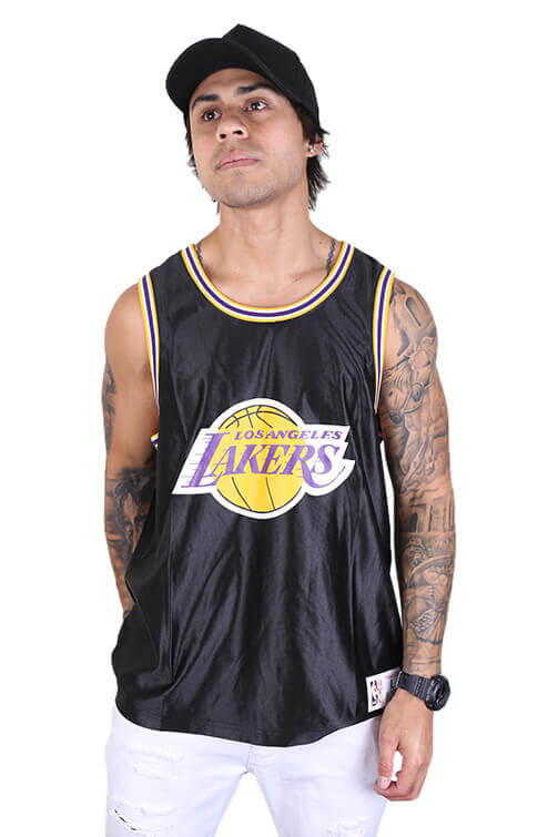 M&N Lakers Dazzle Jersey Black Front 1