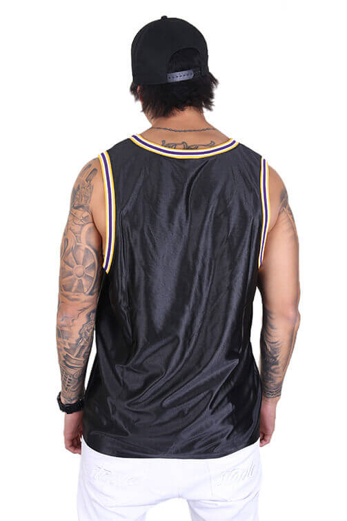 M&N Lakers Dazzle Jersey Black Back