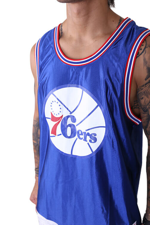 M&N 76ers Dazzle Jersey Royal Detail 1